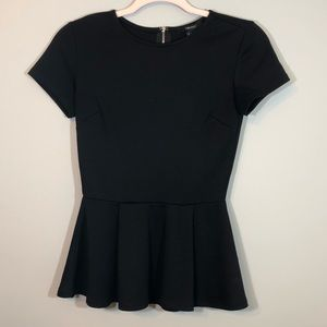 Forever 21 Peplum Top Black Size Small